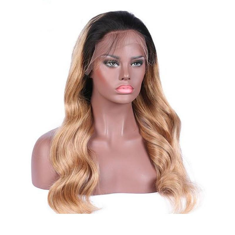 Designer Fashion human hair wigs 1bT27 brazilian wavy hair honey blonde ombre lace front wig free