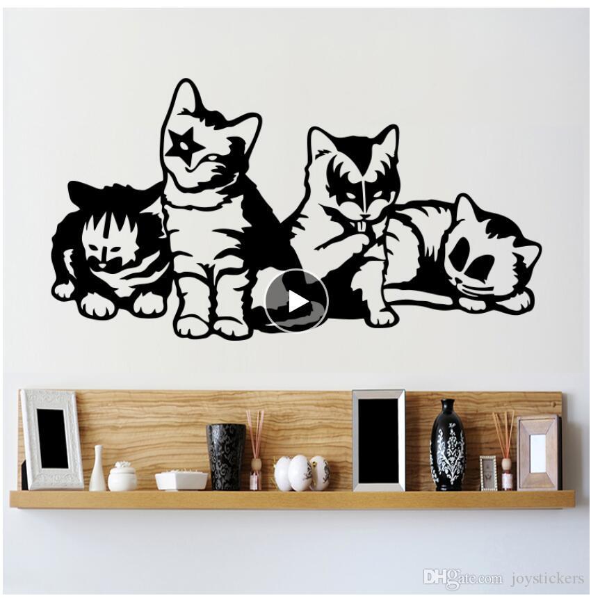 Decorativos gatinhos Vinil Grupo Beijo parede Sticker Art Design Os gatos Decalques removível animal decalques For Kids quarto grátis