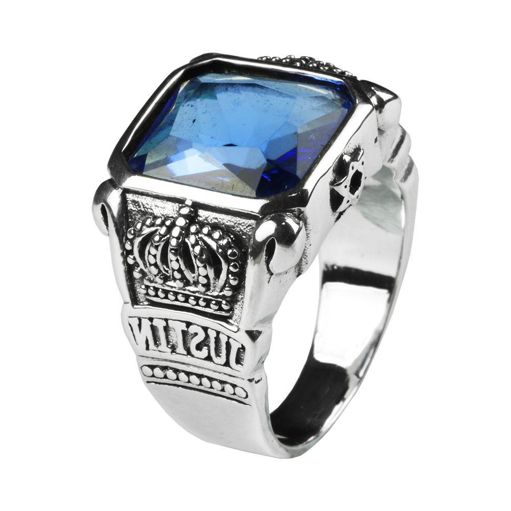 Мужская Синий Кристалл Кольцо Квадрат Натуральный Камень Настоящее Подлинная Стерлингового Серебра 925 С Старинные Корона Корона Резные Ювелирные Изделия J190715
