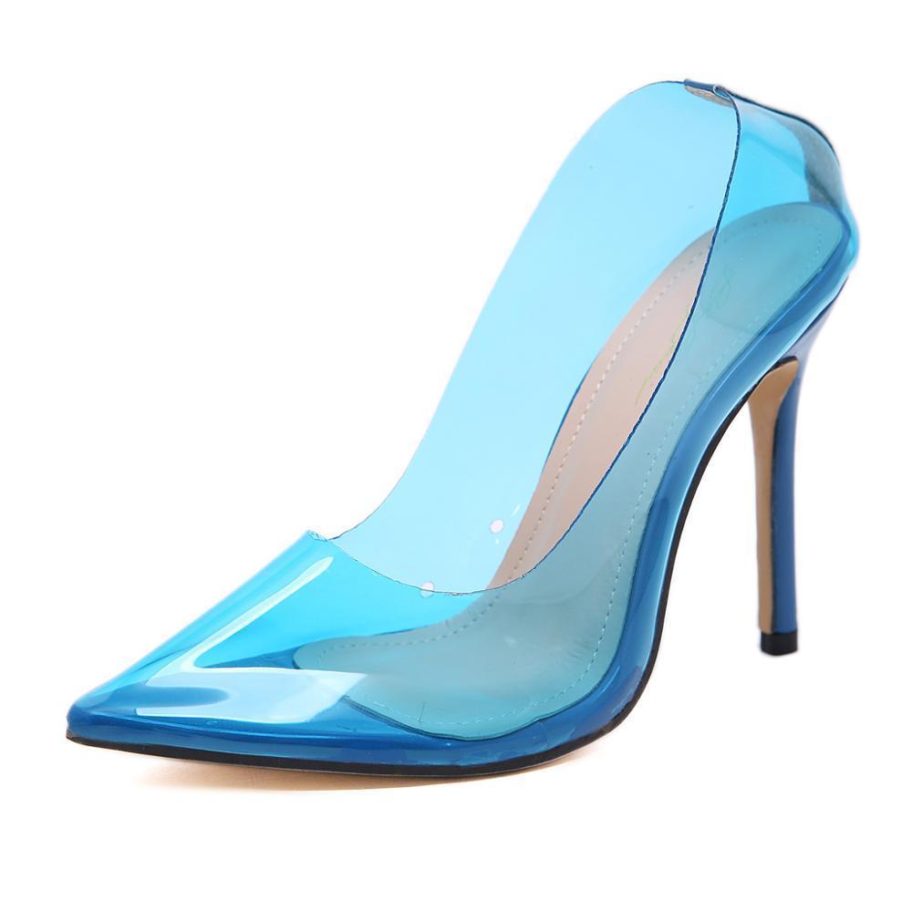 2019 Moda Kadın Yüksek Rahat Sivri Burun Spike Topuklar Yaz mavi renk şeffaf MX200407 Çalışma Ayakkabı