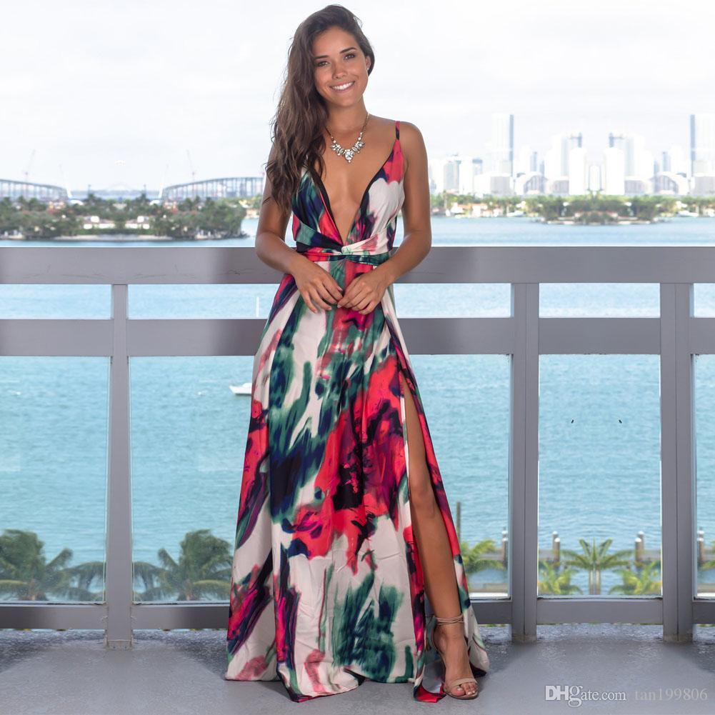 2019 Femme Floral Maxi Dress Arrive été Boho V-cou manches Parti Robe de plage Robe Casual