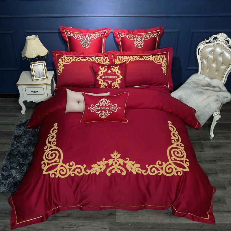 Algodão Egípcio café cor cama Set 4 / casamento tamanho do conjunto de folhas de cama capa de edredão fronhas de almofadas decorativa 7pcs rainha do rei
