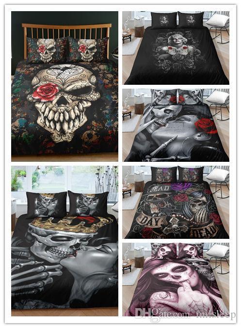 3D Skull Halloween Bedding Set & Skull Duvet Cover pillowcase Set Twin Full Queen King Bed linens set