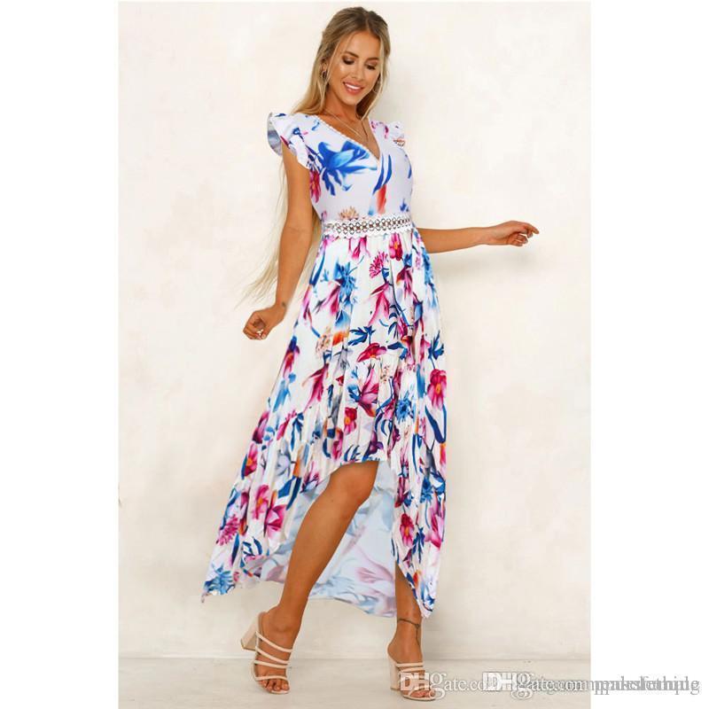 V-Ausschnitt Lace Panelled Flora gedruckt Kleider Frühlings-Sommer-Sleeveless Damen beiläufige Kleider Asymmetrische Female Apparel
