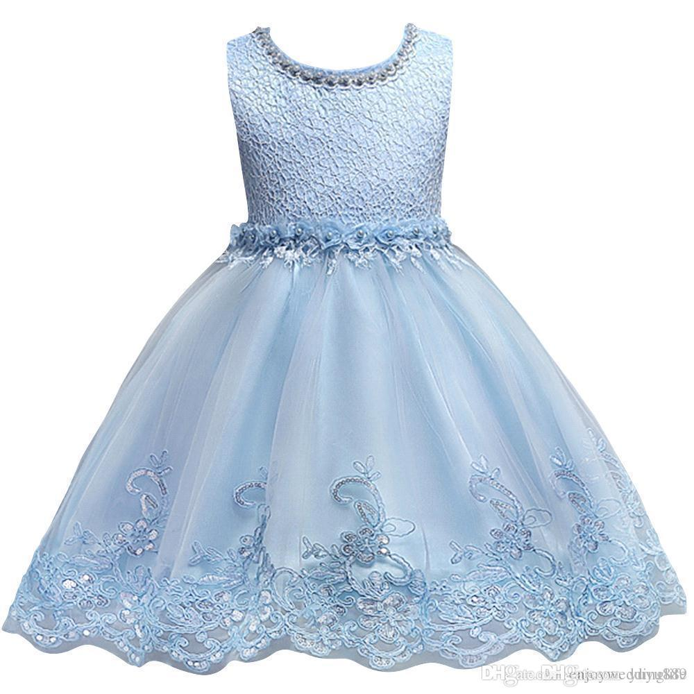 Flower Girl Dresses Jewel Neck Lace Appliques Satin Pageant Dress Kids Communion Birthday Dresses Formal Wear