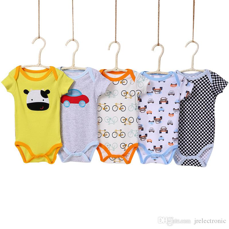 5 adet / grup Bebek Bodysuits 100% Pamuk Bebek Vücut Kısa Kollu Giyim Benzer Tulum Karikatür Baskılı Erkek Bebek Kız Bodysuits