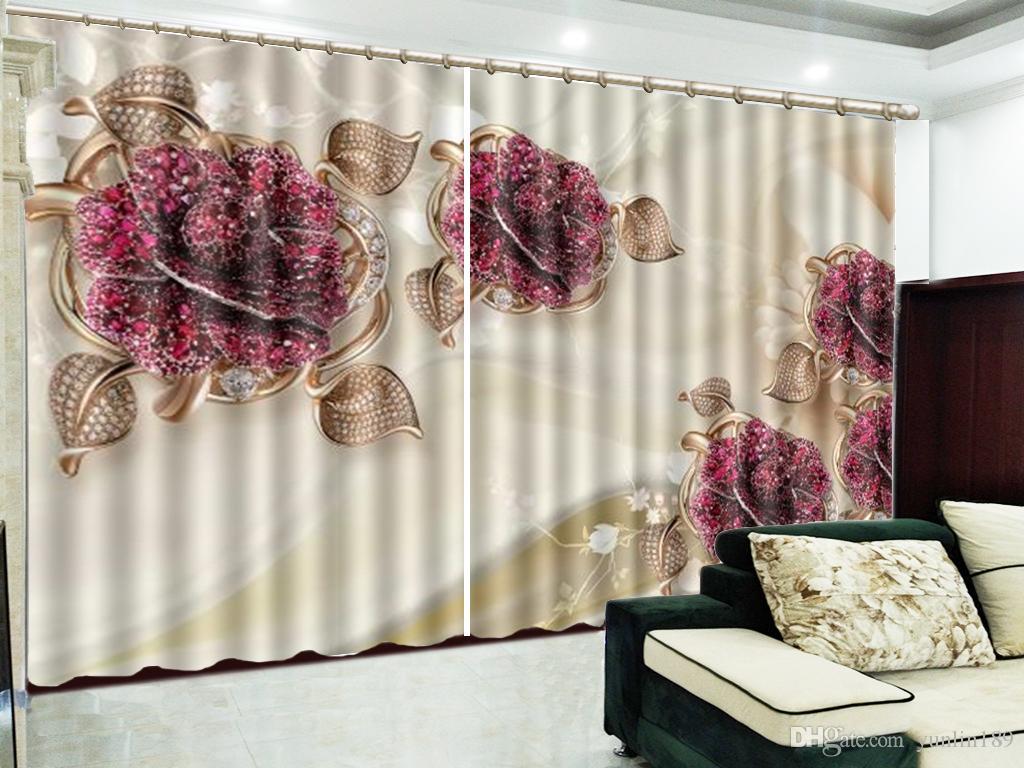 Vorhang 3D luxuriöse Rubin und zarte Blumen Wohnzimmer Schlafzimmer schöne praktische Verdunkelungsvorhänge