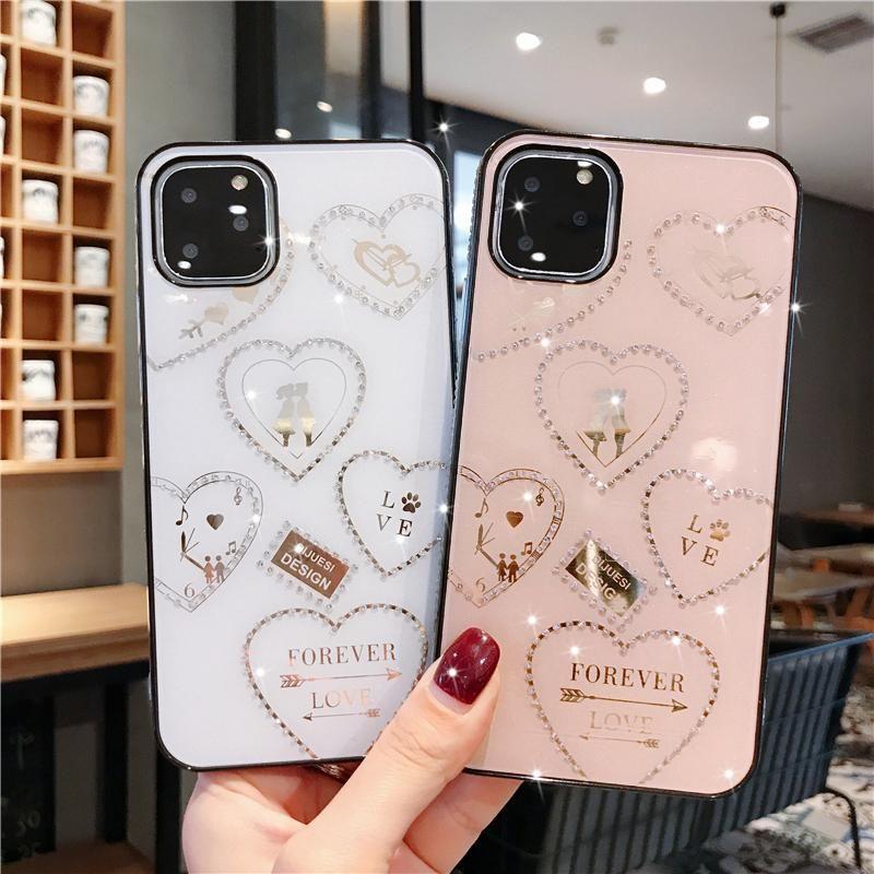 Para Apple iPhone 11 pro xs max x xr 6 7 8 mais caso luxuoso caso tampa traseira Diamante Glitter Love for iphone11 11Pro escudo do telefone