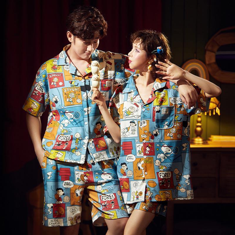 Casal Verão Pijamas Set manga curta impressão Pijamas Pijamas Mulheres Homens Cotton Nightwear bonito Amantes Pijamas Homewear XXXL