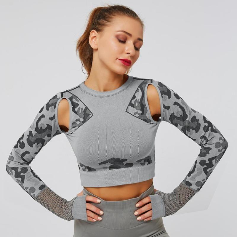 Бесшовные Йоги Crop Top Рубашки с длинным рукавом Камуфляж выдалбливает Skinny одежды Фитнеса Женской Йоги Тонких тренировки Запуск Tops