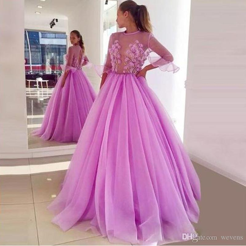 5d2f3247aba0b Chic Illusion Top A Line Prom Dresses Jewel Neck Half Sleeve 3D Flower Bead  Prom Gown Draped Tulle Floor Length Evening Party Skirts Chiffon Prom ...