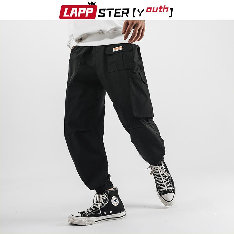 LAPPSTER-Youth Men Graphic Unit Cargo Pants 2020 Overalls Mens Japanese Streetwear Black Pants Pockets Cotton Pants