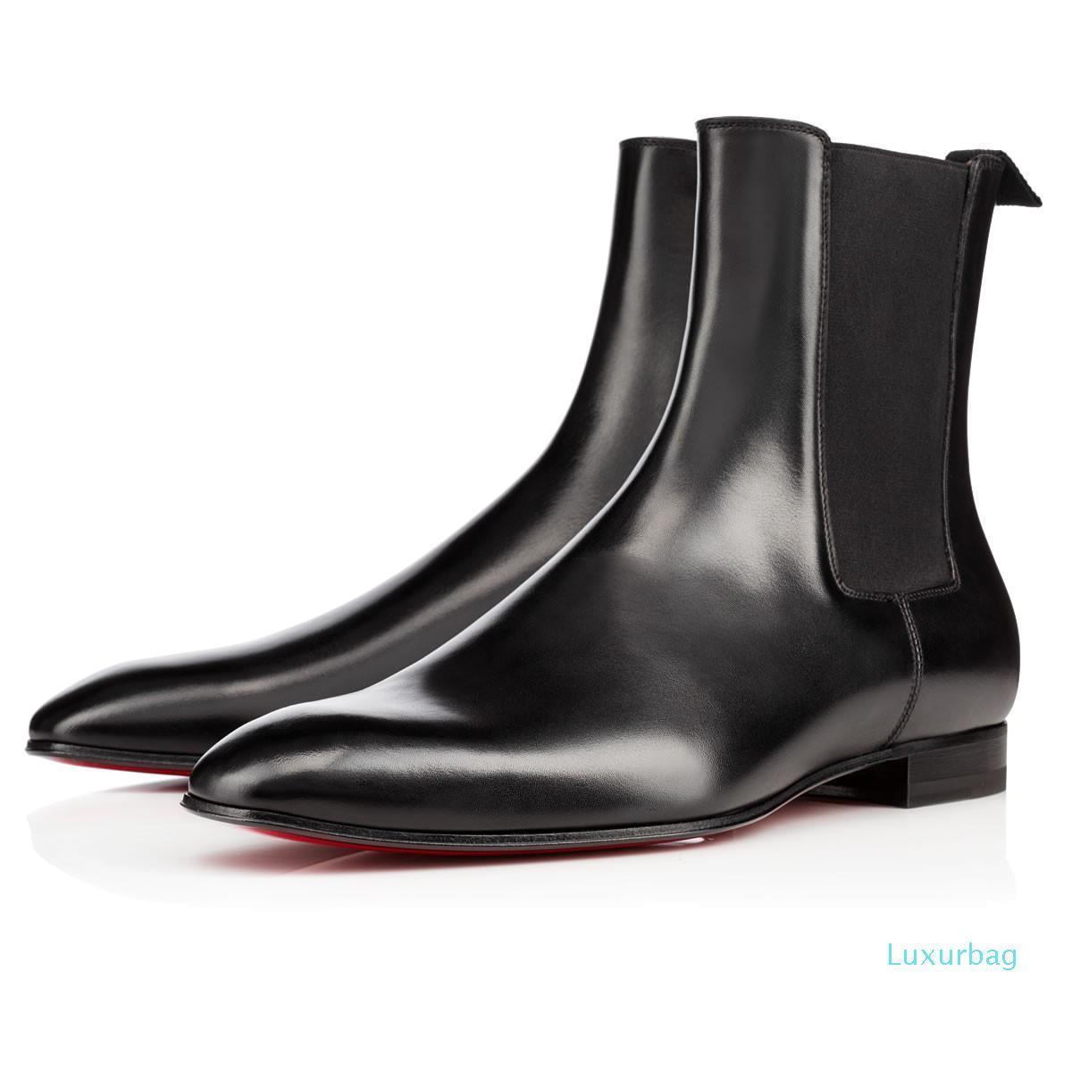 Moda Zarif İş Tasarımcı Erkek Siyah Deri Şövalye botlar Yüksek Üst Kırmızı Alt Boots, Marka Düz Ayak bileği Boots Günlük Ayakkabılar L03