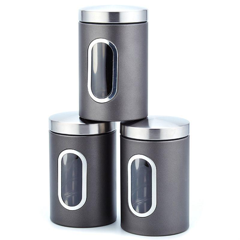 3Pcs 11X16.5Cm Stainless Steel Storage Tank High-Grade Fresh-Keeping Sealed Coffee Canisters Storage Box Creatives Home Gift