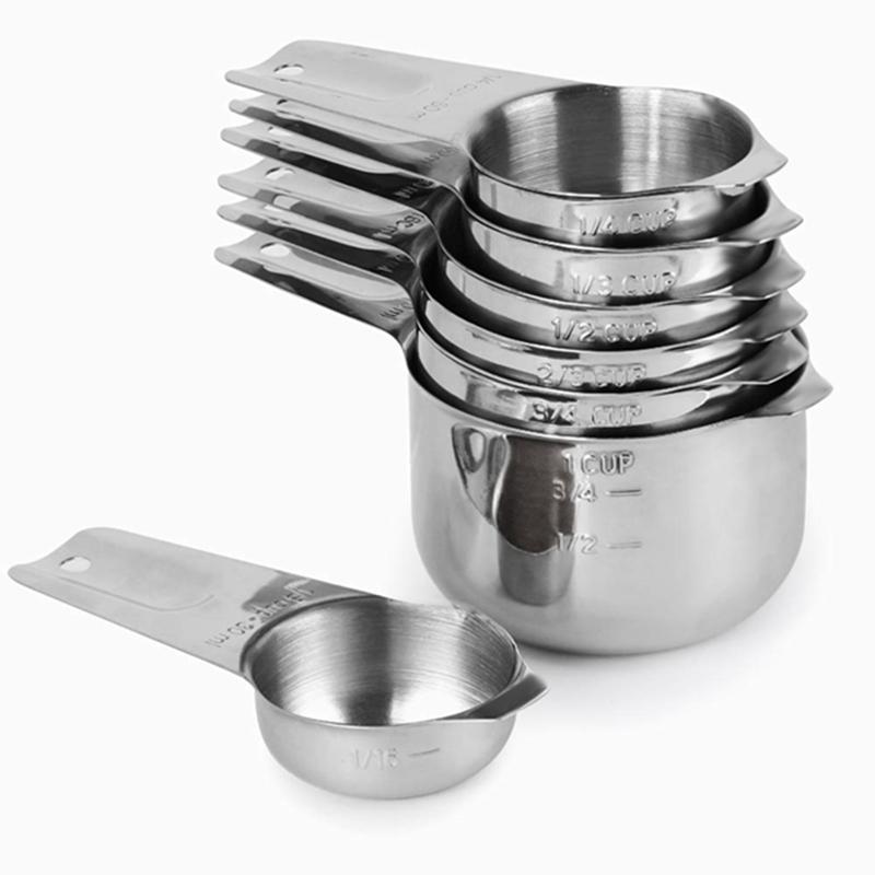 1/8 Cup Coffee Scoop ile 7 Set Bardaklar Ölçme, Paslanmaz Çelik Metal Spout ile Kupa, 7 Parça İstiflenebilir Set Ölçme