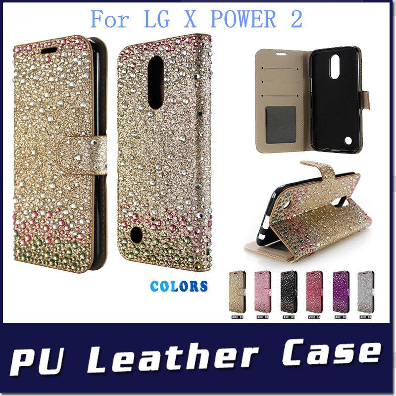 For HTC ONE X10 U UITRA U PLAY LG X POWER 2 ZTE A520 Diamond Rhinestone bling wallet case cover credit card slots