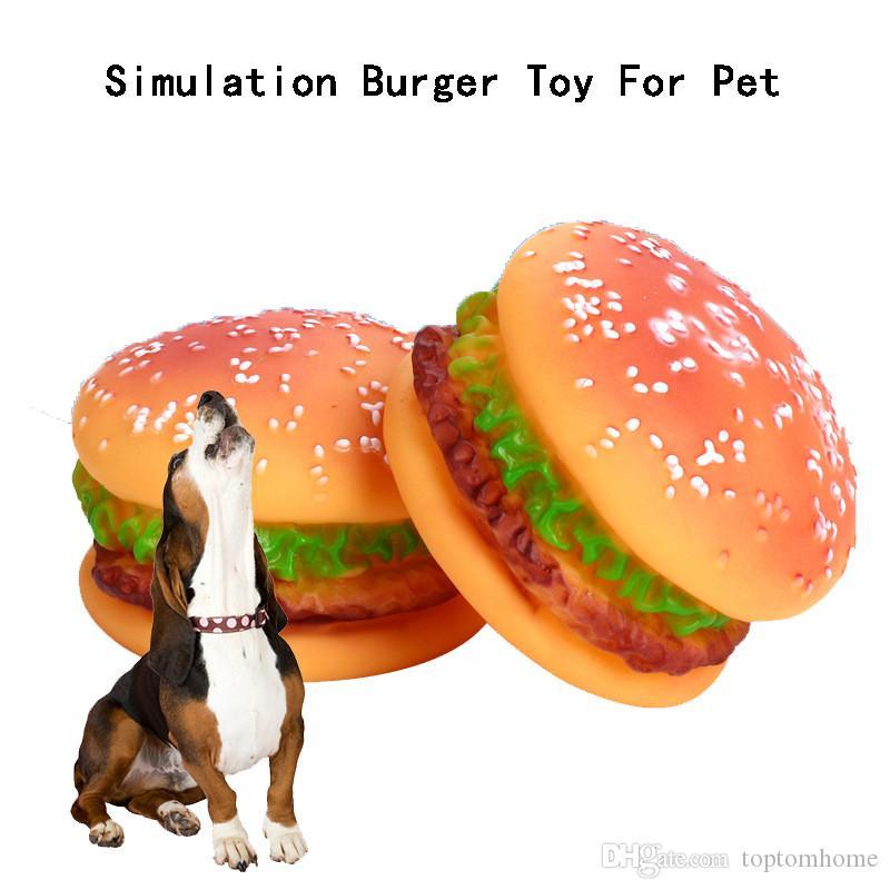 Animaux Chats Chiens Jouets Simulation Burger silicone Burger Squeakers populaires Animaux Jouet formation de chien de chat Jouer Fournitures Chewing
