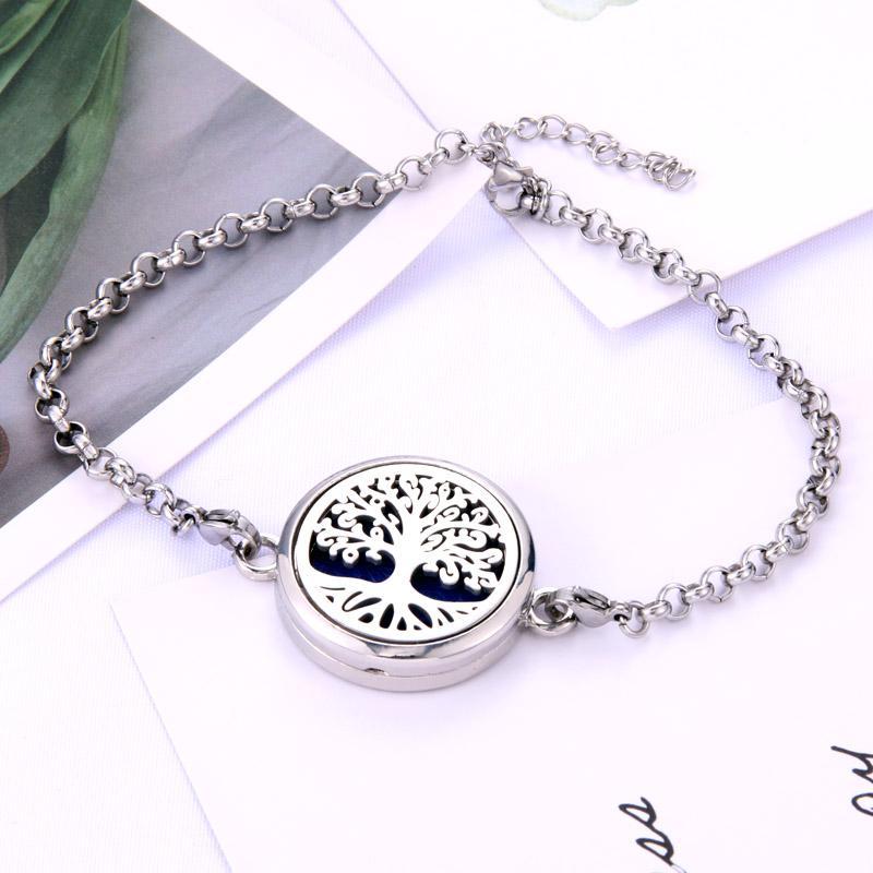New High Quality Perfume Essential Oil Diffuser Locket Bracelet Stainless Steel Bangle Magnetic for Women Bracelet