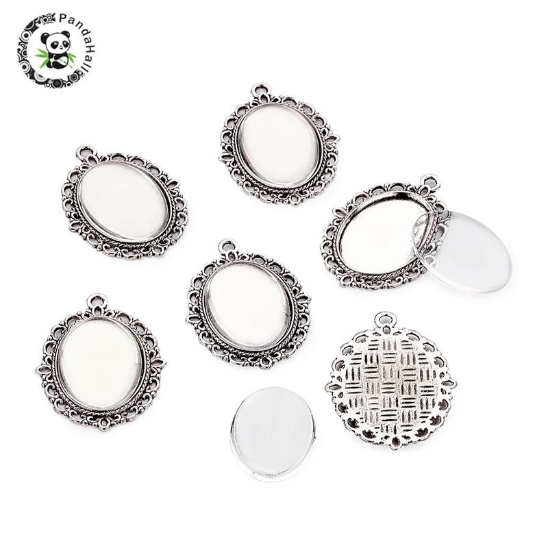 2 silver plated pendant cabochon blank settings with hollow glass domes 16 mm