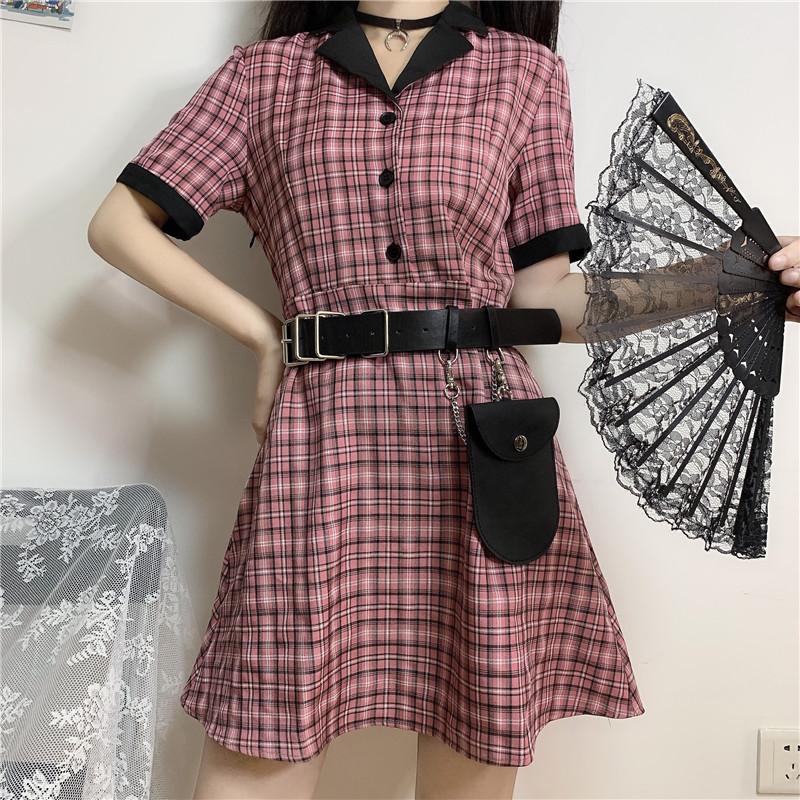 캐주얼 드레스 중국 스타일 여름 청사 하라주쿠 빈티지 격자 무늬 짧은 소매 스트랩 가죽 벨트 Preppy 드레스