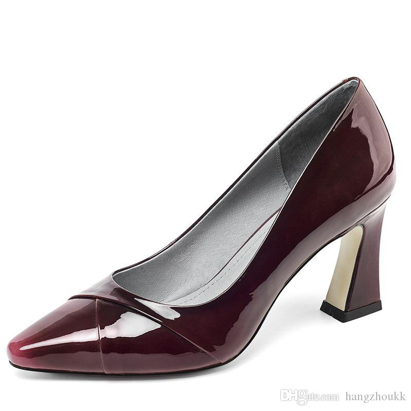 lazer de couro genuíno nova moda saltos altos menina casual alta espessura calcanhar sapatos venda quente mulheres sapatos