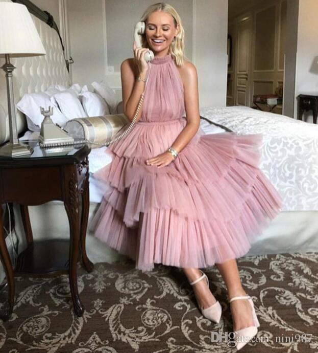2019 Modest Stylish Vestidos Luxury Prom Dress High Collar Cocktail Dresses Striking Ruffles Pink color Evening Prom Gowns