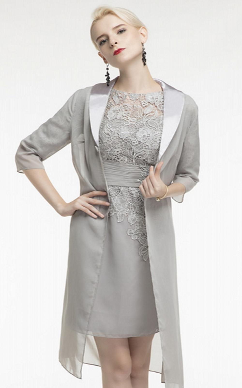 Plus Size joelho Curto mãe dos vestidos de noiva manga comprida Jacket Lace Mãe vestidos formais prata vestido de noite