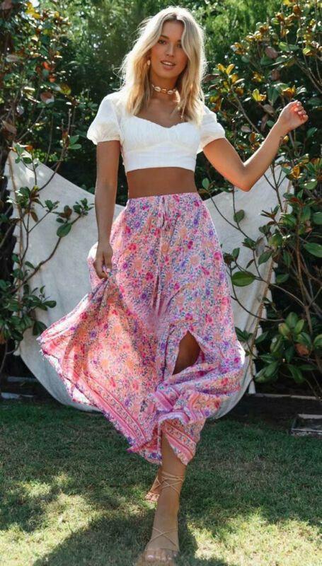Lady Fashion Vintage Floral vacanze Magro Boho maxi alte donne della vita Beach Wrap Gonne