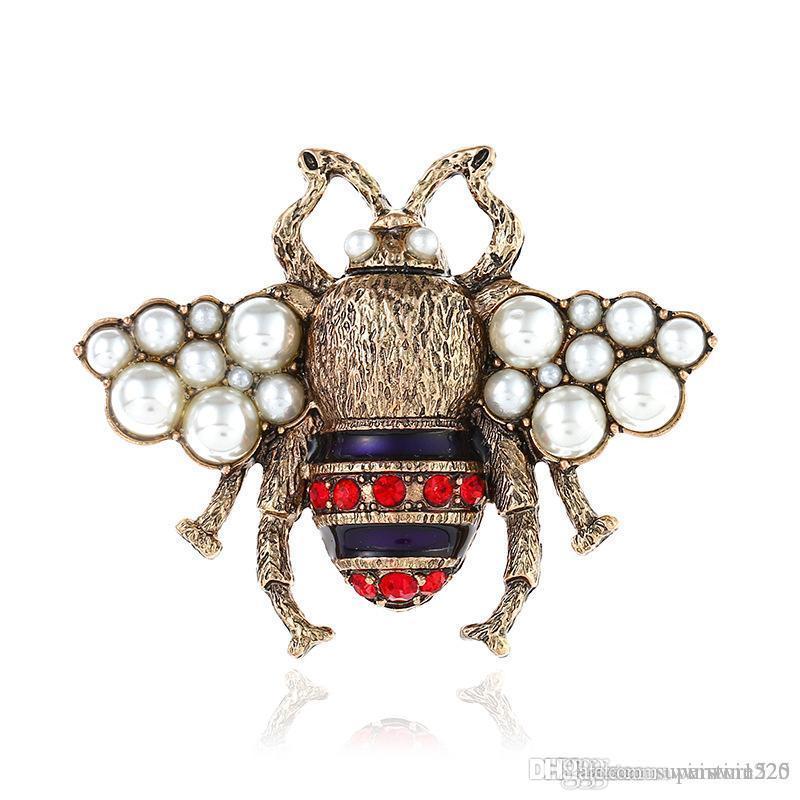 Ropa de cristal broche retro lindo de la perla Pin de la abeja de la aleación broche de piedras preciosas Europa Estados Unidos calidad de la manera joyería de las mujeres regalos del punto 2 Color
