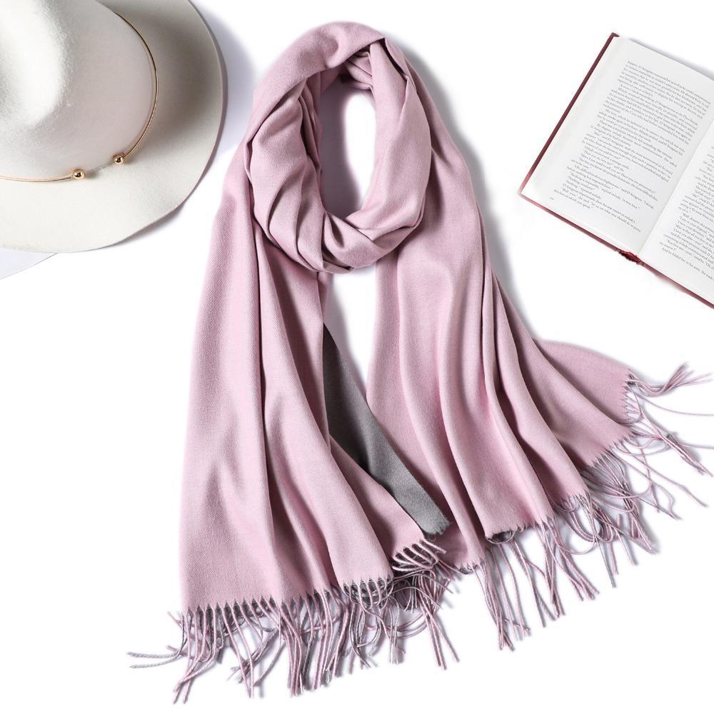 2019 marque un foulard d'hiver pour les femmes de la mode à double couleurs côté dame cachemire foulards pashmina châles et bandana chaud hijabs T200225