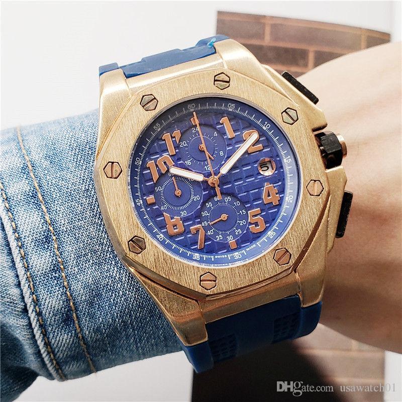 Mens Luxury Watch All Dial Work 45mm Size Royal Oak Offshore Rubber Strap Mens Designer Quartz Movement Watch Chornograph Wristwatch