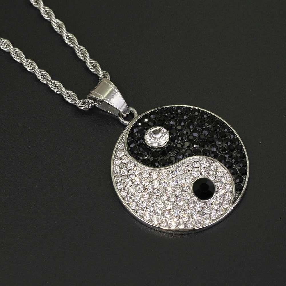 diamants Fashion-Chi pendentifs pour hommes, femmes luxe pendentifs chinois Tai Ji acier inoxydable Yin et Yang Symboles Collier cadeaux