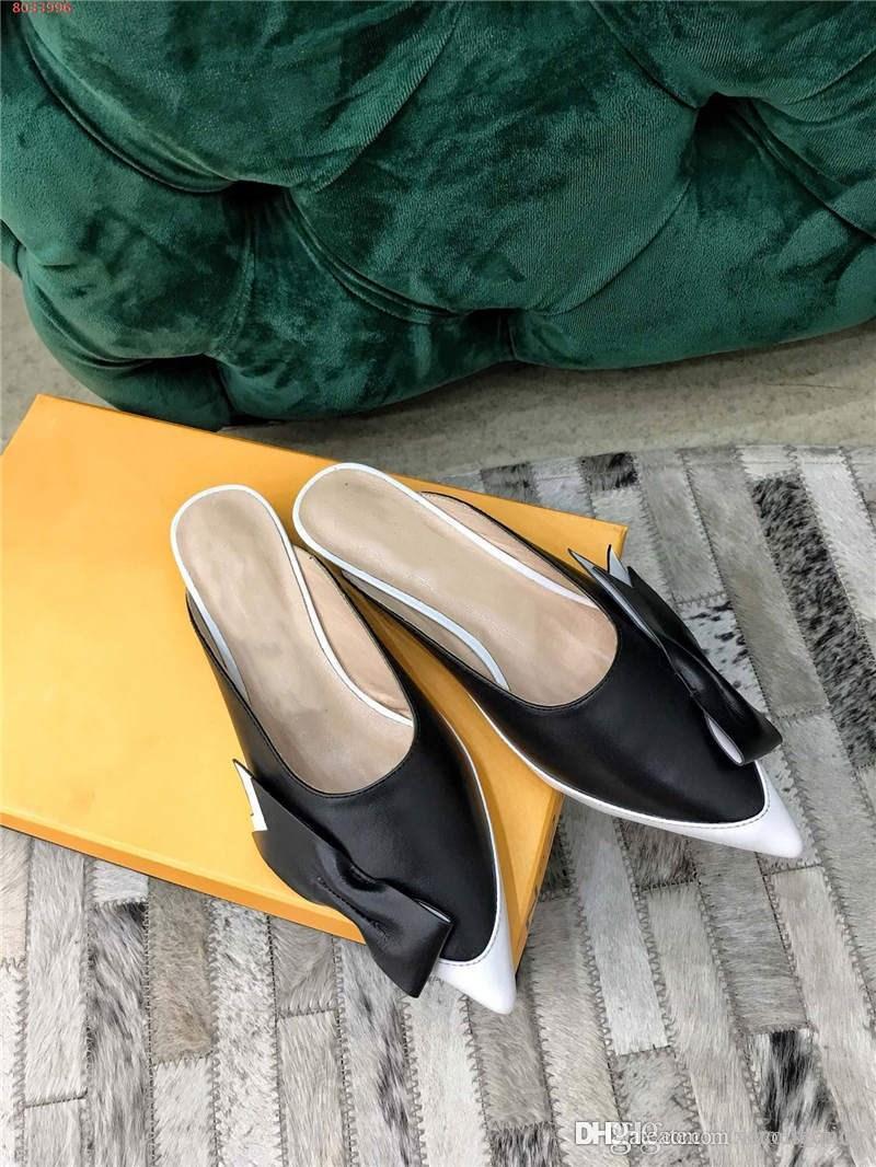 Nueva primavera 2019 de color doble costura en punta serie arrastre La mitad de las mujeres, tamaño 35-40 talón altura de 3 cm