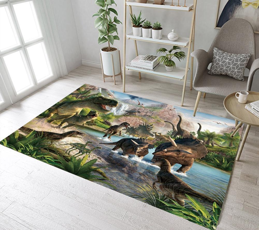 Çocuklar Dinozor Kilimler Ve Bebek Ev Salon Büyük Yatak Koridor Yoga mutfak Kapı Katta Banyo Mat T200111 İçin İlkel Orman Halılar