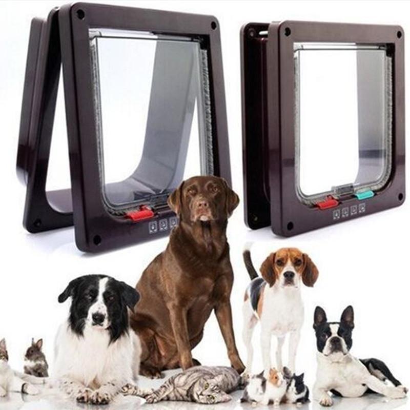 4 Vías Bloqueables Perro Gato Gatito Puerta Puerta de Aleta de Seguridad de Plástico ABS S / M / L Animal Pequeño Mascota Gato Perro Puerta de Perro suministros para mascotas