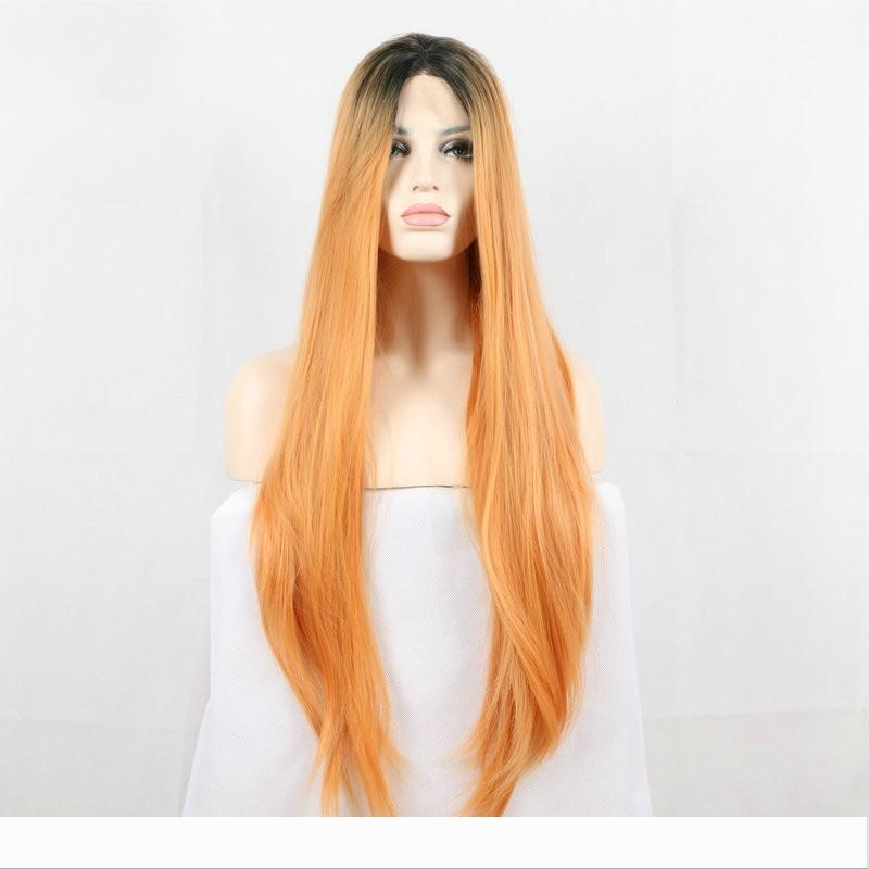High Temperature Fiber Perruque Peruca Long Body Wave Wigs Red Ombre Orange Synthetic Lace Front Wig For Women Costume