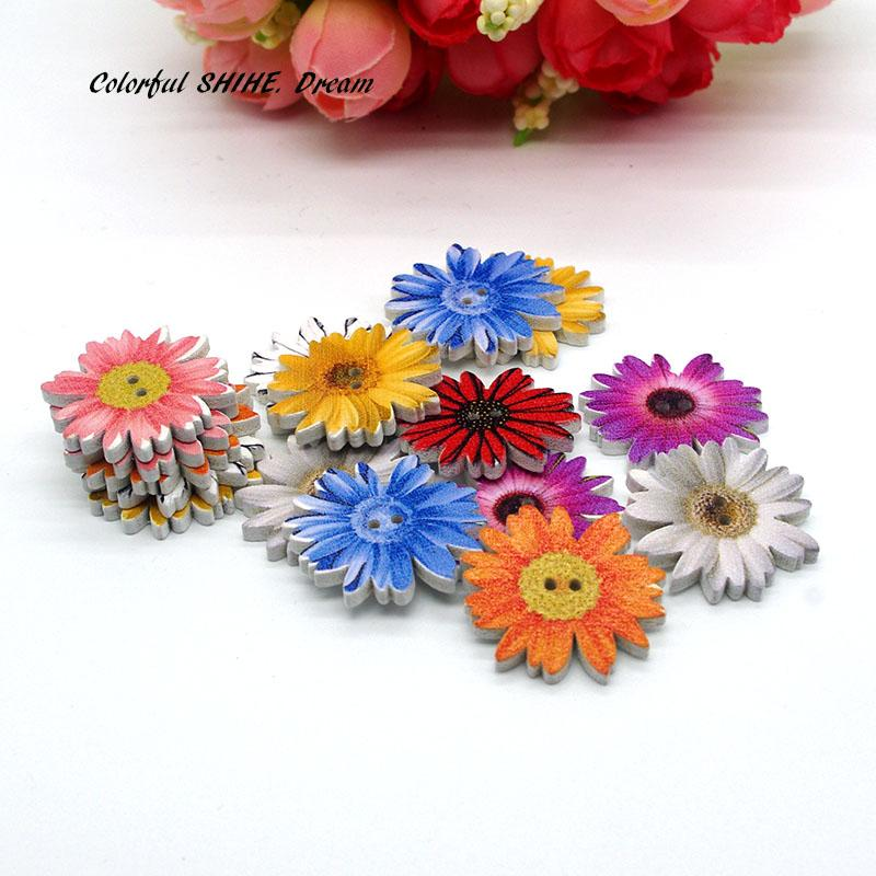 50PCs Wholesale Natural Wooden Buttons Chrysanthemum Shape Mixed Scrapbooking Sewing Accessories DIY Craft 2 Holes 25mm Dia.