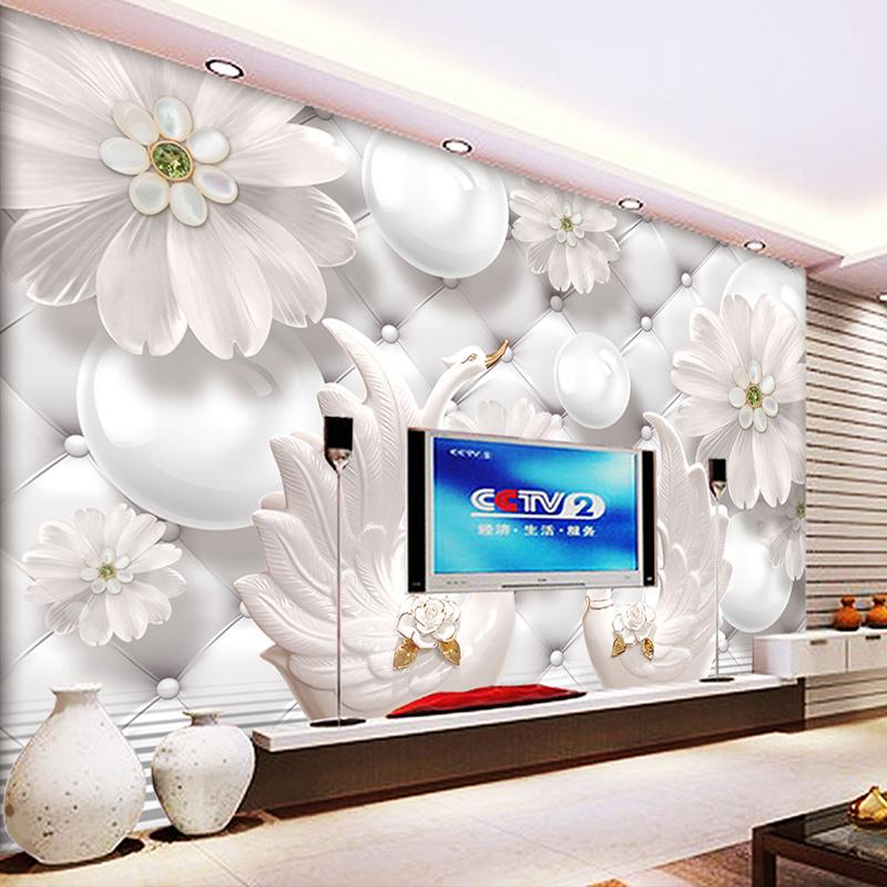 Custom Modern Minimalist 3D Relief Circle Ball Flower Pattern Swan Wall  Painting Living Room Sofa TV Background Mural Wallpaper High Definition