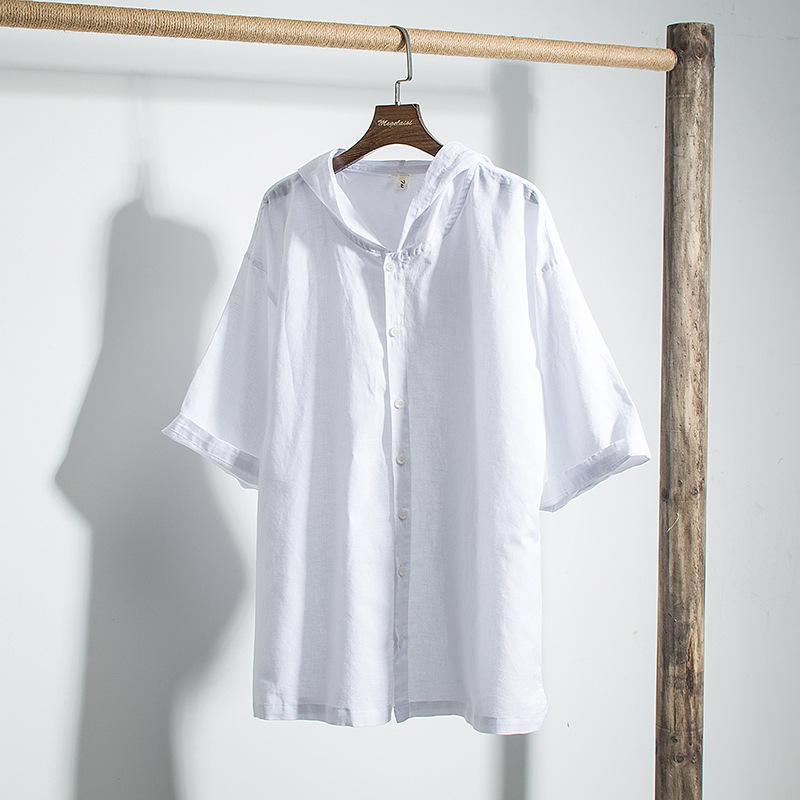 Camicie con cappuccio dei nuovi uomini di Casual Uomini Cotone Lino a manica corta con cappuccio Sport Shirt Top Solid maschile abbigliamento primavera estate TS-500