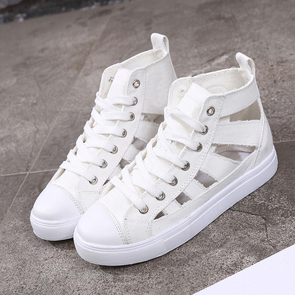 Kadın Yaz Flats Hollow Out Espadrilles Ayakkabı Bayanlar Casual Sandalet Çapraz Kayış Spor Ayakkabı Sneaker 2020 Zapatillas Mujer