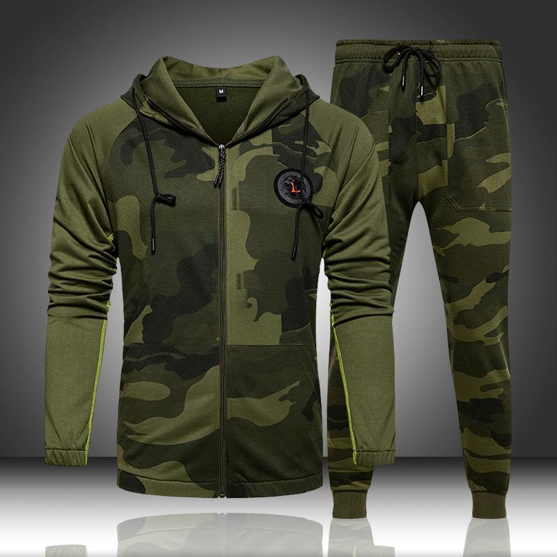 Kamuflaj Erkekler Eşofman Kapşonlu Dış Giyim Hoodie Seti 2'li Sonbahar Spor Erkek Spor Kamuflaj Tişörtü Ceket + Pantolon takımları