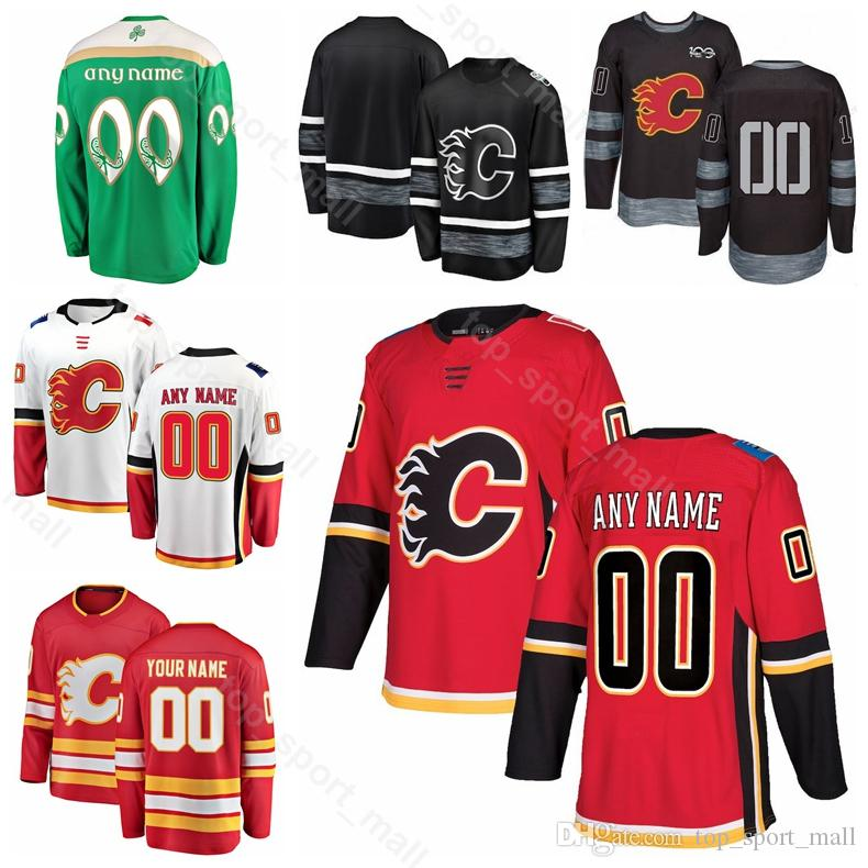 Uomini Bambini Donne James Neal Jersey Calgary Flames Hockey su ghiaccio Elias Lindholm Matthew Tkachuk Mikael Backlund TJ Brodie Rosso Bianco Nero Verde