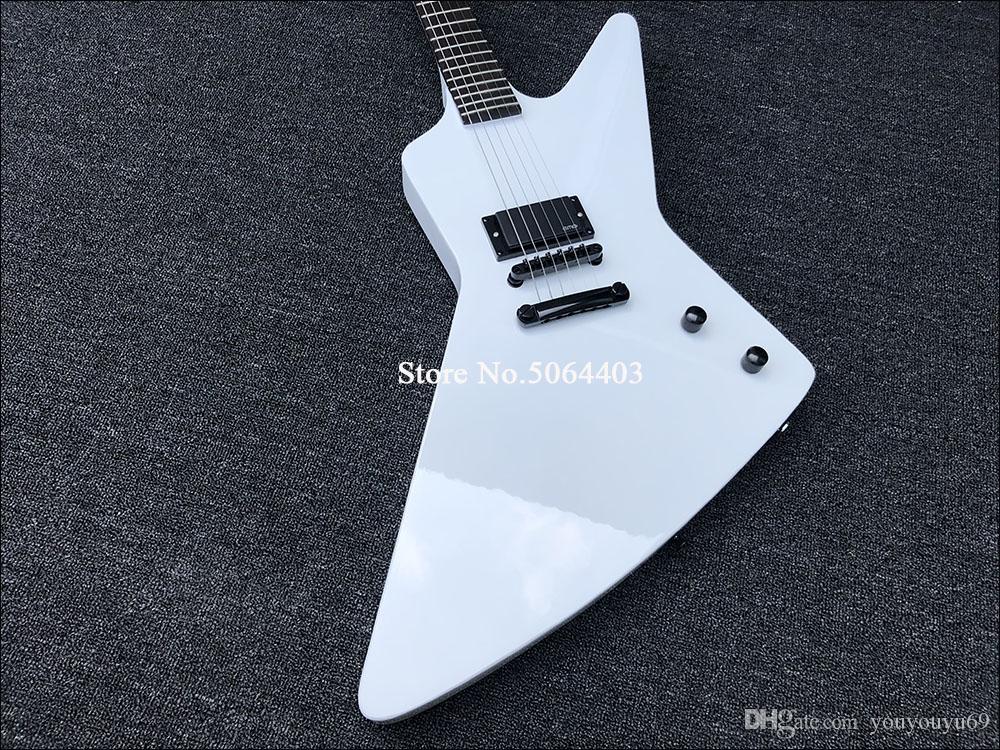 Заказ завод скидка цена, высокое качество белый специальная электрическая гитара, гитара гусь, черные аксессуары, палисандр Гриф,