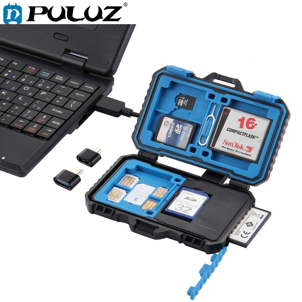 Camera/Video Bags PULUZ Reader+22 in 1 Waterproof Memory /SD Card Case Storage Box for 1Standard +2Micro-SIM+2Nano-SIM+7SD+6TF+1 PIN