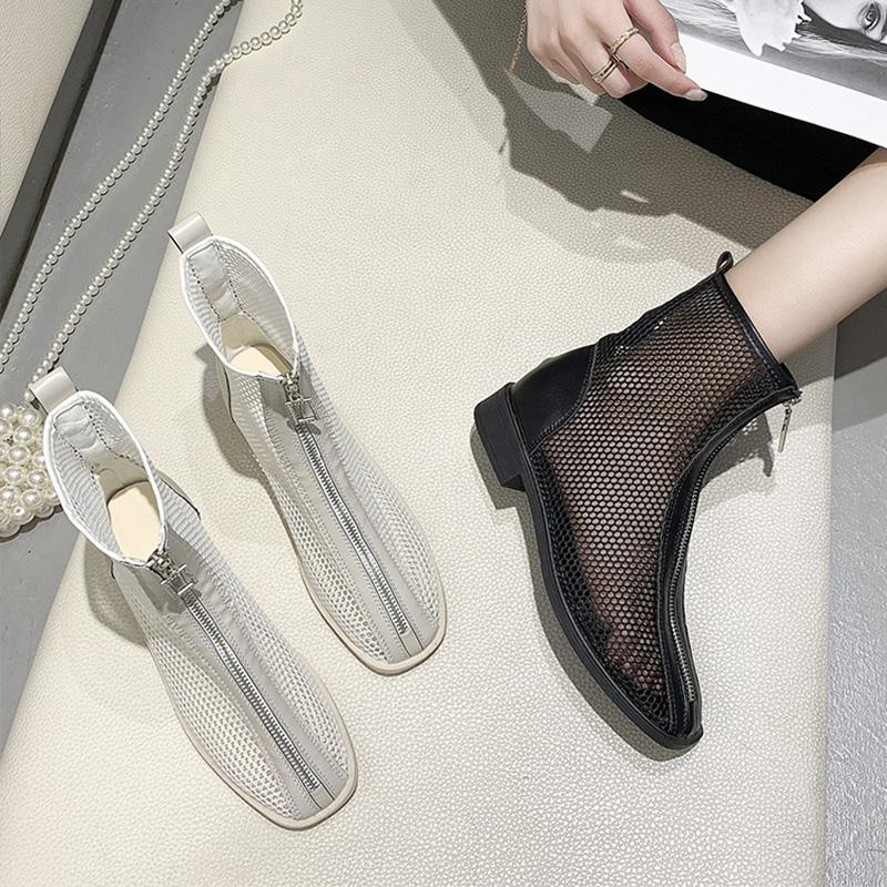 Sapatos Bloco Salto Sandália bota mulher sandálias com Laces 2020 terno verão Feminino bege sapatos Chunky Baixa senhoras Denim Conforto
