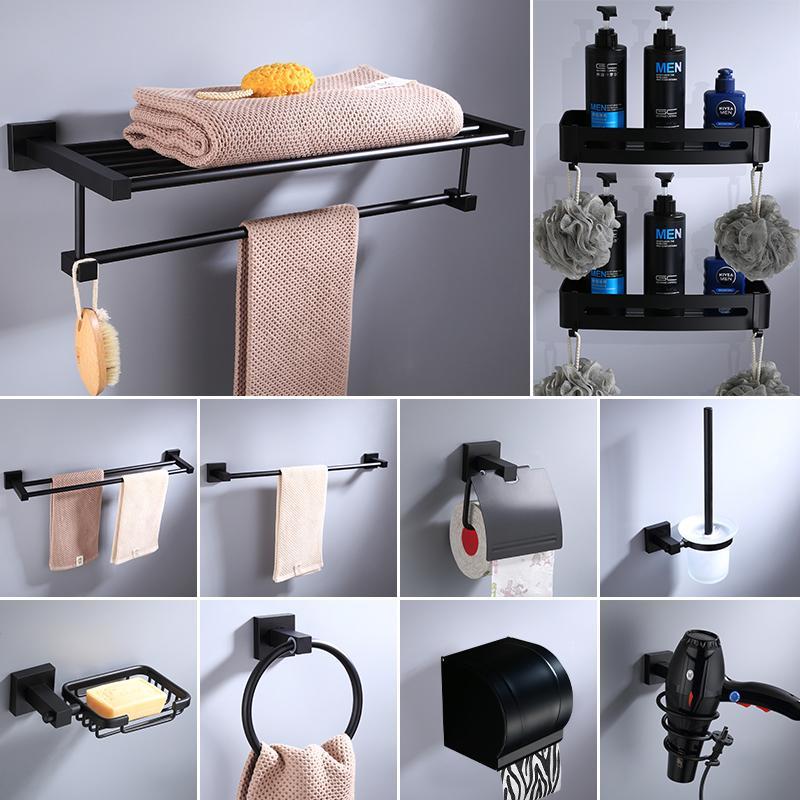 Space Алюминиевый Полотенце держатель бумаги ванной Оборудование Набор для волос Черный Сухое стойки Аксессуары для ванной комнаты Керамическая мыльница