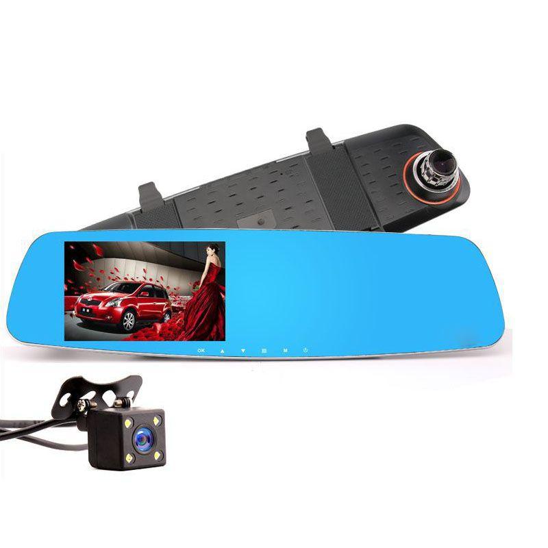 4.3 Inch Car DVR Night Vision Dual Lens Car Detector 1080P HD Reversing Image Rearview Mirror Gravity Sensor Driving Recorder
