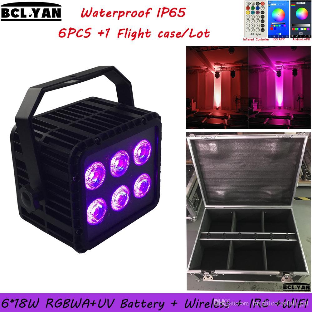 6XLOT Flight Case Packing Waterproof 6x18w 6in1 RGBWA UV DMX Led Par Lighting IP65 Wireless dmx battery led wash light