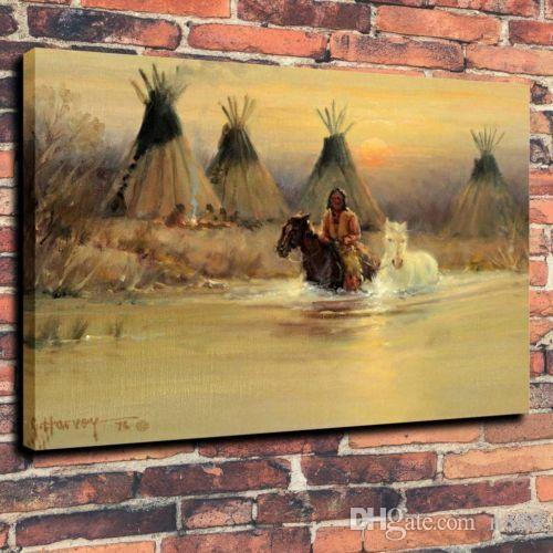 Indians Horse Tipi River Home Decor Handcrafts /HD Print Oil Painting On Canvas Wall Art Canvas Pictures 191105