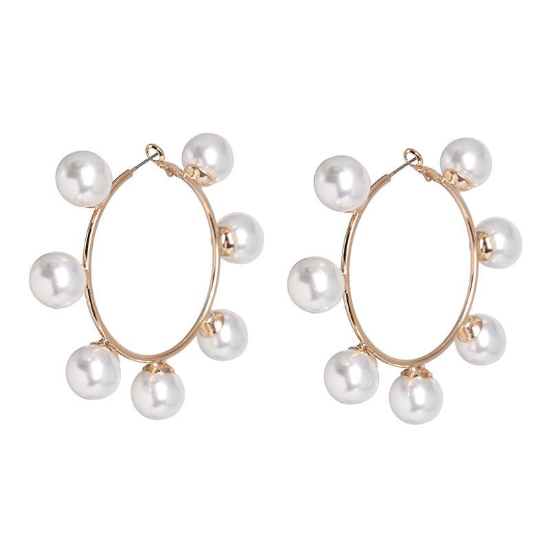 Joyería nuevos pendientes del aro de Boho de imitación blanca de la perla del círculo de mujeres redondas del color oro grande Pendientes Pendientes de Corea Declaración de Brincos